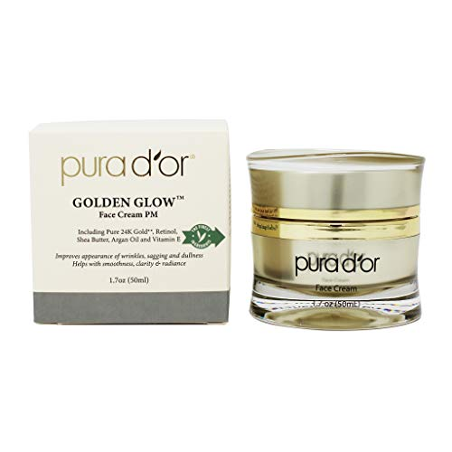 PURA D'OR Golden Glow Face Cream PM - Anti Aging Face Cream With Pure 24K Gold for Firmer Skin, Reduced Appearance of Wrinkles and Increased Appearance of Brighter Skin (1.7oz)
