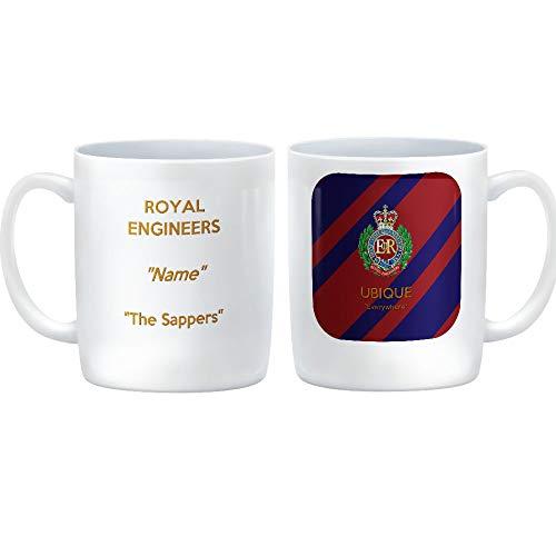 HQ Gift Ideas Royal Engineers The Sappers Taza de cerámica Personalizada Que Muestra una Imagen de la Insignia del Regimiento en un Corps Tie Design con el Lema Ubique – Everywhere