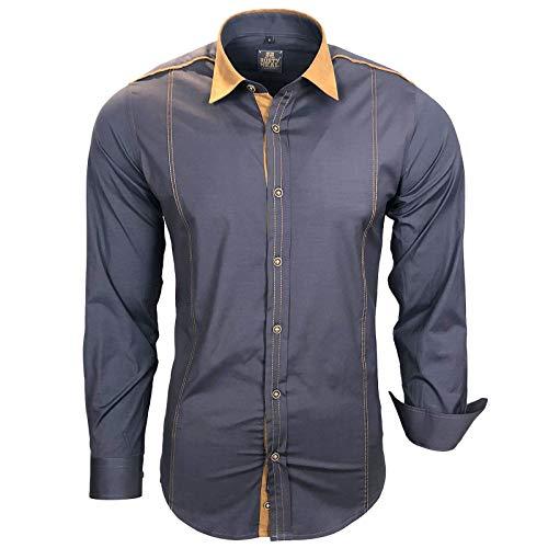 Rusty Neal Twoface Herren-Hemd Slim-Fit Langarm-Hemden-Bügelleicht-Business A1-RN-76, Größe:XXL, Farbe:Anthrazit