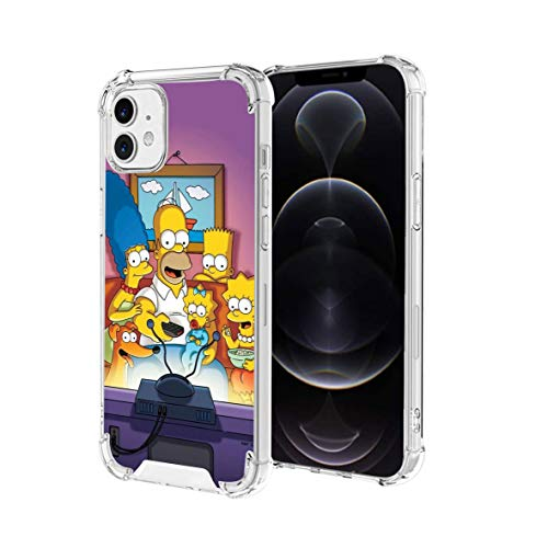 Clear iPhone 12 Case, iPhone 12 Pro Case Cartoon Design Soft TPU Bumper and Anti-Scratch PC with 4 Corners Shockproof Protection, Phone for 6.1 in (The Simpsons)
