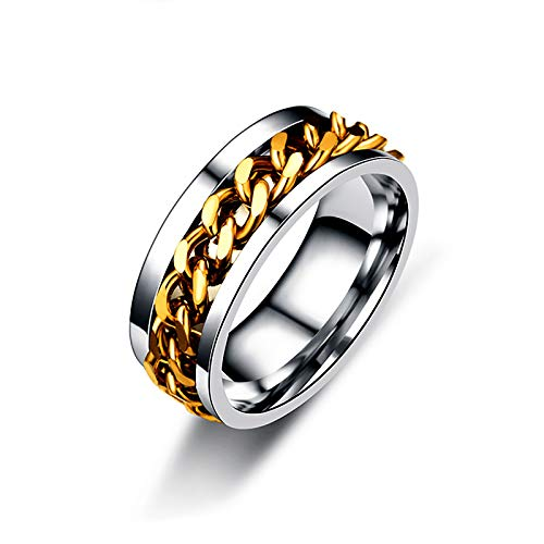 LONG-D 8Mm Chain Ring for Men Stainless Steel Rotatable Titanium Steel Chain Ring,Gold,11=21mm
