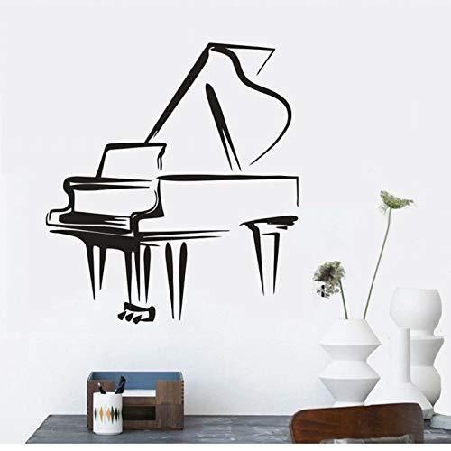 Calcomanía de pared para sala de clases de música, diseño de piano, decoración musical, juego de piano extraíble, A5, 38 x 42 cm