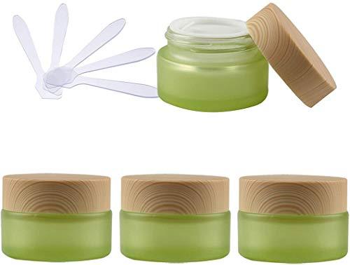 4 Stück 20 g Leere Grün Glas Schraubdose Dosen Gel Tiegel, 20 ml Cremedose Leerdose Kosmetische Behälter Kosmetikbehälter Glas-Dose, Töpfe, Aufbewahrungsbox + 5X Löffel 50 ml