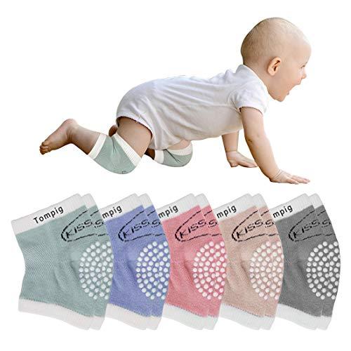 Tompig Knieschoner Baby Krabbeln,5 Paar Stulpen Knieschoner Baby Krabbel Knieschoner mit Gummipunkte Anti-Rutsch Elastische für Baby Unisex Baumwolle Knieschützer 0-24 Monate