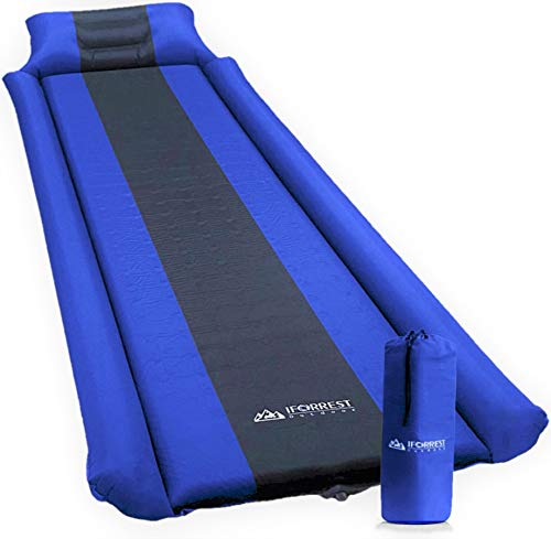 IFORREST Sleeping Pad with Armrest & Pillow - Rollover Protection - Ultra-Comfortable, Self-Inflating Camping Pads, (L/XL) - Best Foam Mattress Air Mats for Cot, Tent and Hammock