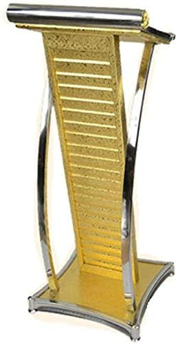 Rednerpult Metall Präsentation Edelstahl Podium Hotel Modern Willkommen sprechen Eisenfarbe Empfang Informationsschalter für die Präsentation der Kirchenschule (Farbe: Gold Größe: Einheitsgröße)-