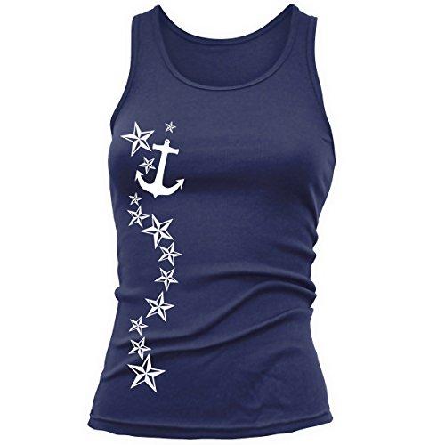 Shirtfun24 Damen STERNRANKE Anker Anchor Sterne Tank Top, Navy blau, XL