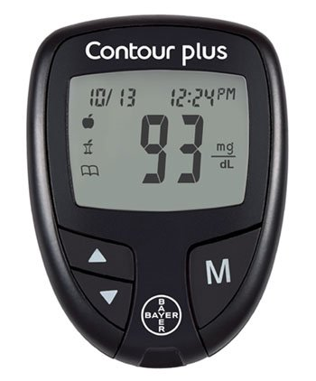 BAYER CONTOUR ® PLUS Blood Glucose Meter Monitor The meter measures in mg/dl