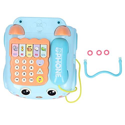 Zerodis Juguete de teléfono de simulación para niños Juguetes de Aprendizaje Educativo temprano con Efecto de música Ligera y Cuatro Modos de Juego y para niños Mayores de 18 Meses(Azul)
