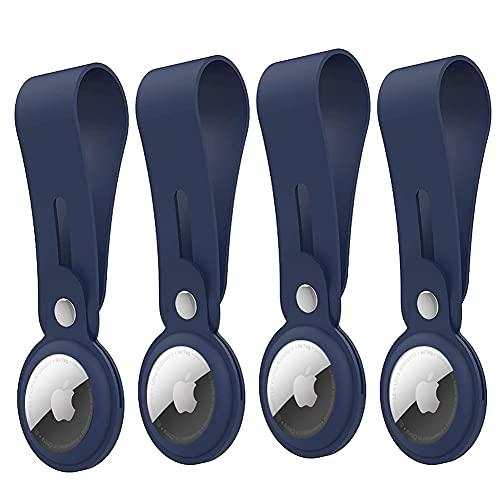 Airtag Hülle 4 Stück Airtag Loop kompatibel mit Apple Airtags, DOOGE Sicherheit und Anti-Verlust Kratzfest und Waschbar Silikon Schutz AirTags Sleeve Cover für Schlüssel Rucksäcke Liner Taschen Haustiere