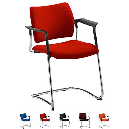 Sport-Tec Freischwinger mit Polster + Armlehne Schwingstuhl Besucherstuhl Konferenzstuhl