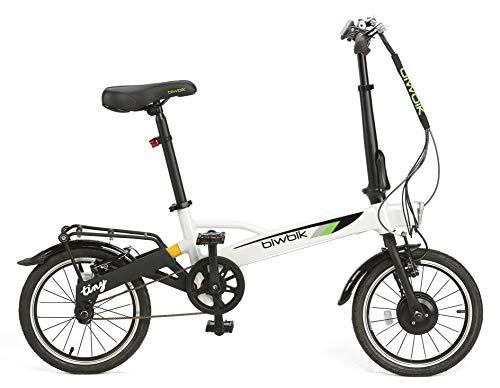 BIWBIK Vélo électrique Pliant Tiny - Le vélo Pliant électrique Le Plus léger du marché 12KG (Blanc)