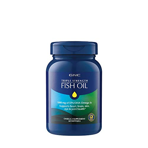 GNC Triple Strength Omega 3 Fish Oil 1000mg, 60 Count, Supports Joint, Skin, Eye, and Heart Health