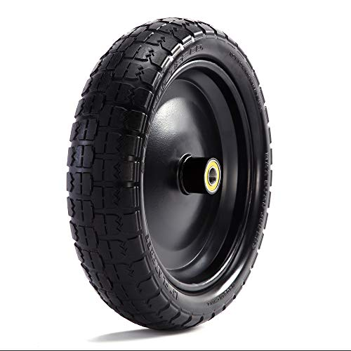 """Steerling Tire Co. 13"""" Flat-Free Wheelbarrow Tires - Includes 4 Replacement Wheels, Cotter Pins and Washers - Easy Installation, Compatible with Gorilla Carts, Trolleys, Generators and More"""