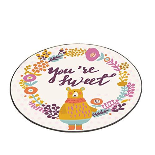 Sentaoa Runde Teppiche Karikaturmuster Kinderzimmer Teppiche Spielmatte für Kinder Raum Dekoration Matten (Stil#4, Durchmesser:80 cm)