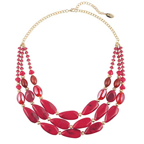 Bocar 3 Layer Beads Statement 24.5' Necklace for Women (NK-10539=Red)