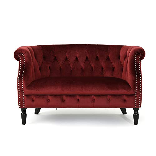 Melaina Tufted Chesterfield Velvet Loveseat with Scrolled Arms, Garnet and Dark Brown