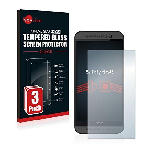Savvies Panzerglas kompatibel mit HTC One M9 (3 Stück) - Echt-Glas, 9H Festigkeit, Anti-Fingerprint