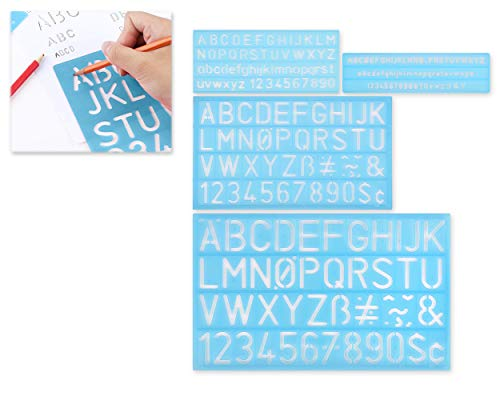 DS. DISTINCTIVE STYLE Alphabet Stencils Set of 4 Plastic Letter Stencil Assorted Sizes Number Ruler for Learning, Painting, Scrapbooking - Blue
