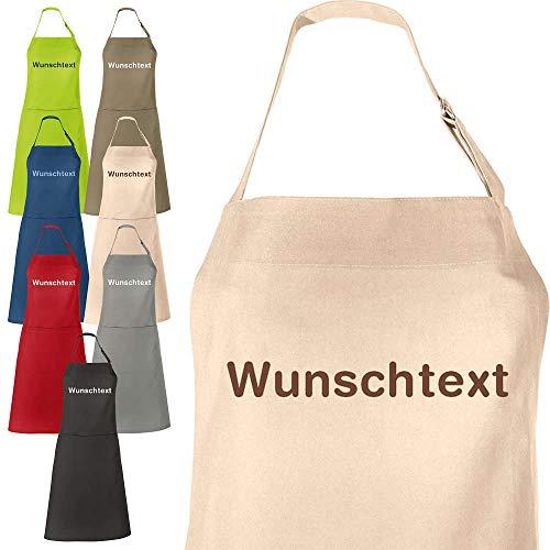 REDBEST Koch-Schürze, Küchenschürze mit Wunsch-Namen Bestickt Seattle - viele Farben, viele Schriftarten - verstellbare Halsschlaufe, große Aufsatztasche, Bindeband - Größe 75x90 cm