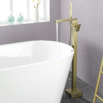 SHAMANDA Freestanding Bathtub Faucet Single Handle Bath Tub Filler Faucet with Hand Shower Brushed Gold, Floor Mount, FL801-3