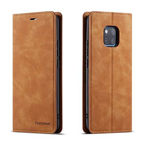 QLTYPRI Hülle für Huawei Mate 20 Pro, Premium Dünne Ledertasche Handyhülle mit Kartenfach Ständer Flip Schutzhülle Kompatibel mit Huawei Mate 20 Pro - Braun