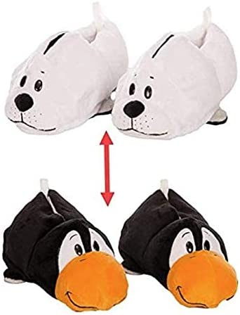 FlipaZoo AS SEEN ON TV Slippers White Seal Transforming to Penguin Size Medium - Two in One Warm & Comfy Plush Slippers