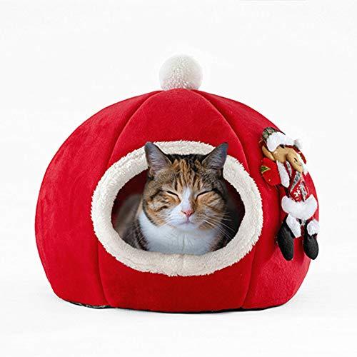 YUY Pet Nest Carpa De Diseño Creativo Navidad Calabaza Casa para Perros 3D Esponja Suave Almohadilla para Dormir Plegable Nido De Gato Otoño E Invierno Productos Cálidos para Mascotas,35Cm