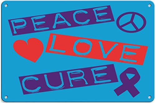 EADFH Peace Love Cure Epilepsy Vintage Retro Metal Sign Wall Plaque Kunst Malerei Zinn personalisierte Familie Street Sign Poster Decor
