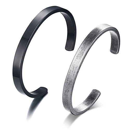 VNOX 2 Stück Freie gravierte Edelstahl Blank Open Cuff Armreif Personalisierte Zitat Armband für Männer Frauen