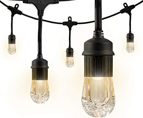 Enbrighten Classic LED Cafe String Lights, Black, 24 Foot Length, 12 Impact Resistant Lifetime Bulbs, Premium, Shatterproof, Weatherproof, Indoor/Outdoor, Commercial Grade, UL Listed, 31662