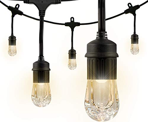 Enbrighten Classic LED Cafe String Lights, Black,...