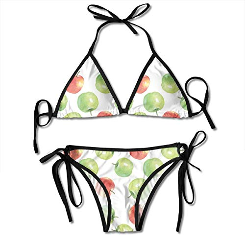 Jiger Adjustable Bikini Set Halter Ladies Swimming Costume, Watercolor Illustration of Granny Smiths and Celesta Brush Strokes Effect,Halter Beach Bathing Swimwear
