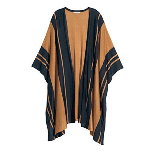 ZUMUii Butterme Frauen Warme gestreifte gestrickte Poncho Capes Schal Pullover Offene Stitch Herbst Winter Frauen Cardigans