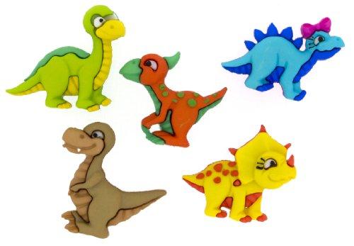 Kleid IT UP Dino Milbe Button, Kunststoff, Mehrfarbig, 23x 19–27x 22mm, 5-teilig