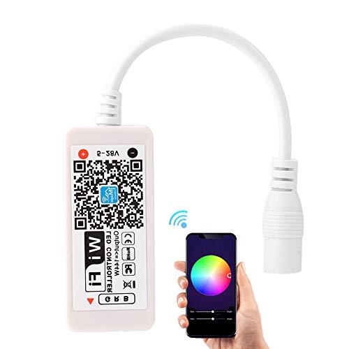 Jadpes Controlador WiFi RGB, Controlador de atenuación RGB WiFi Tensión Nominal 5-28V Rango de Control 30 Metros para luz LED Colorida por Control de aplicación de teléfono Intel