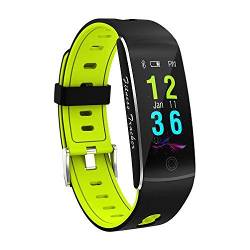 MTTLS Fitness Tracker Smart Braccialetto F10 Display A Colori Cardiofrequenzimetro IP68 Impermeabile Touch Screen Bluetooth Pedometro Wristband Sonno Monitor per Donne Uomini Android E iOS,Green