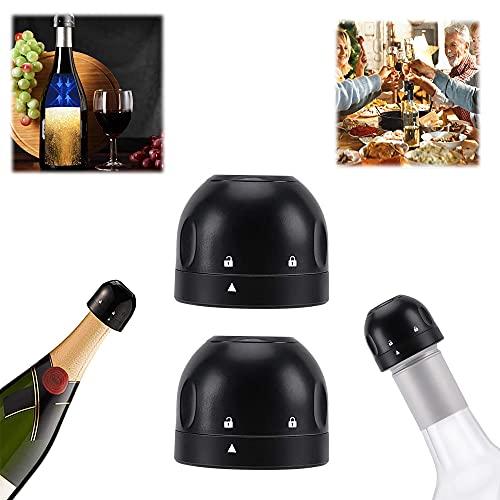 Tapón para botella de champán, 2 el tapón de vacío de vino tinto está sellado y se mantiene fresco, apto para la mayoría de botellas de vino y champán