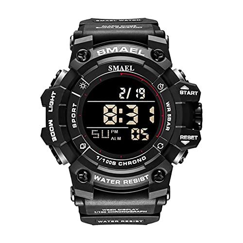 JTTM Reloj Digital De Los Hombres Pantalla LED Cronógrafo Militar Relojes Grandes Deportivos Alarma Impermeable Reloj De Pulsera De Reloj,Negro