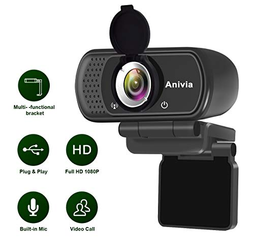 Anivia USB Webcam Full HD 1080p Laptop Webcam Mit Mikrofon Weitwinkel Eingebautes Stereo-Sound Mini Plug-and-Play Webcam-Videoanruf Videokonferenzen für Pc Windows 10