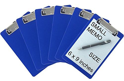 Trade Quest Memo Clipboard 6'' x 9'' Low Profile Clip Plastic (6-Pack) (Dark Blue)
