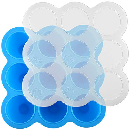 Silikon Babynahrung Aufbewahrung Behälter Babybrei Aufbewahrung zum Einfrieren Aufbewahrungsbehälter für Babynahrung Babybrei Einfrieren Aufbewahrung von Babynahrung und als Behälter für Beikost Blau