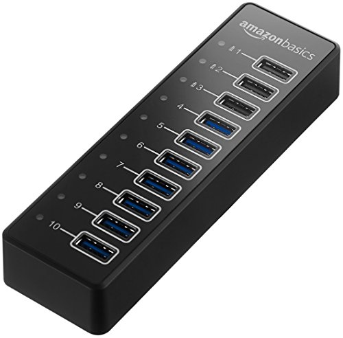 AmazonBasics USB-A 3.1 10-Port Hub with Power Adapter -...