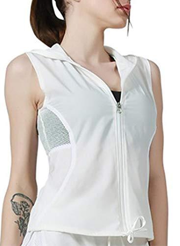 Sudadera sin mangas con cordón y cremallera completa, para correr, yoga, ropa deportiva
