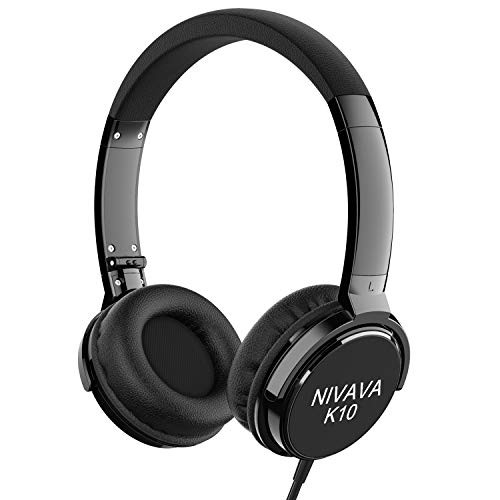 Nivava On Ear Headphones with Mic Wired Foldable Lightweight Adjustable On Ear Headset with 3.5mm Jack for iPad Cellphones Computer Kindle Airplane, K10 (Black)