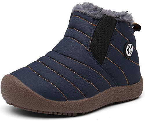 Kinder Winterschuhe Jungen Mädchen Schneestiefel Wasserdicht Warm gefütterte Schlupfstiefel Winter Stiefel Sneaker Schuhe Blau 30.5 EU/31 CN
