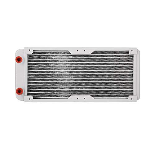SNOWINSPRING Radiador de Aluminio de 240Mm, Disipador de Calor Blanco Equipo de Enfriamiento del Intercambiador de Calor LíQuido de RefrigeracióN por Agua para Computadora