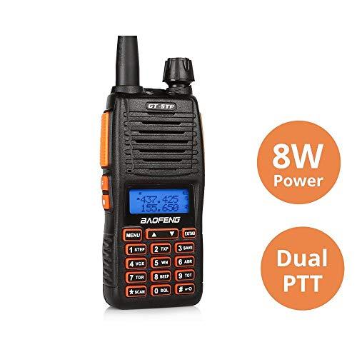 Baofeng GT-5TP Ricetrasmittenti VHF&UHF Walkie Talkie 8w potenza, Dual-PTT con Batteria 2000mAhm,Nero