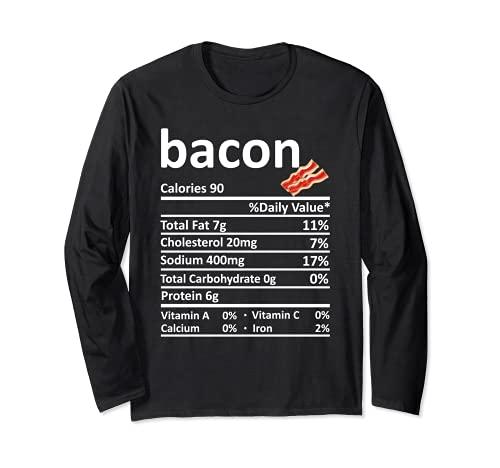 Bacon Nutricin Informacin Alimentaria Disfraz de Accin de Gracias Navidad Manga Larga