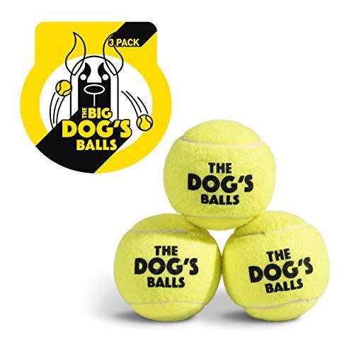 The Big Dog's Balls, Dog Tennis Balls, 3-Pack Large Yellow Dog Toy, Premium...